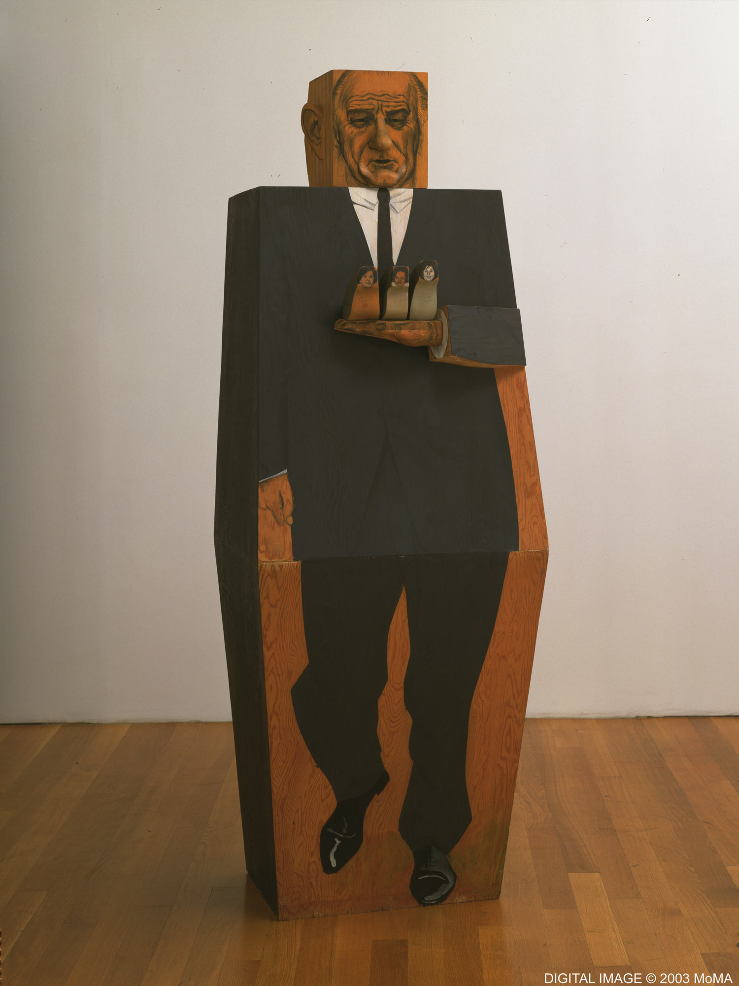 Marisol, American (b. France, 1930). LBJ, 1967. Synthetic polymer paint and pencil on wood. 80 × 27⅞ × 24⅝ inches (203.2 × 70.8 × 62.5 cm). The Museum of Modern Art, New York. Gift of Mr. and Mrs. Lester Avnet, 1968 © Marisol Escobar / Licensed by VAGA, New York