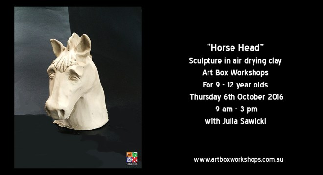 Clay Horses Head, sculpture in air drying clay part of the spring school holiday workshops