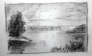Набросок картины, карандаш, уголь