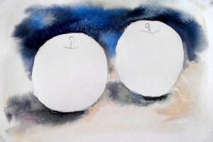 акварельный ютюд с яблоками прорисовываем фон