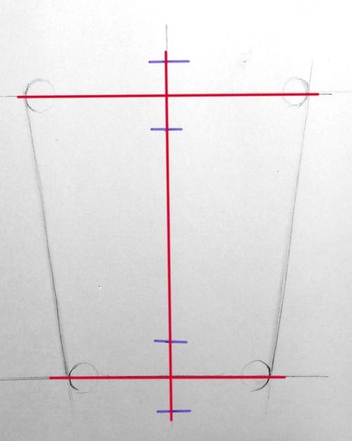 Линейные построения и передача пропорций кружки