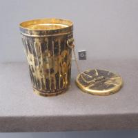 "James ROSENQUIST ""Calyx Krater Trash Can"" 1976 18K gold 4 x 3 x 3 inches (trashcan) 3 inch diameter (lid) $65,000 at Richard L. Feigen & Co."