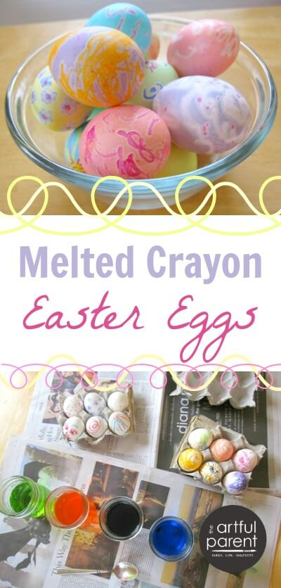 Melted Crayon Easter Eggs with Children