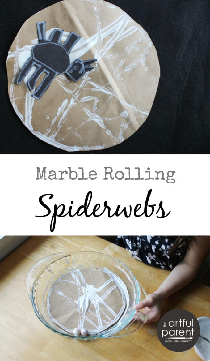Marble Rolling for Halloween Spiderwebs