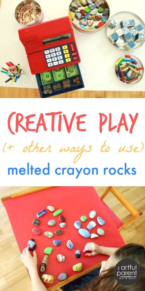 Creative Play Activities with Melted Crayon Rocks and Other Small Items