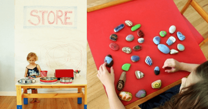 Pretend Play Activities with Melted Crayon Rocks