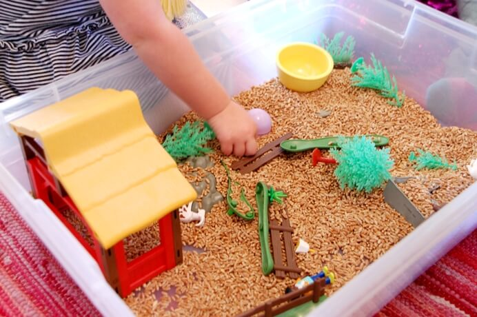 8 Sensory Activities for Kids to Fill the Witching Hour - Wheat berry play