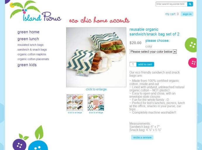 Island Picnic Website Reusable Snack Bags