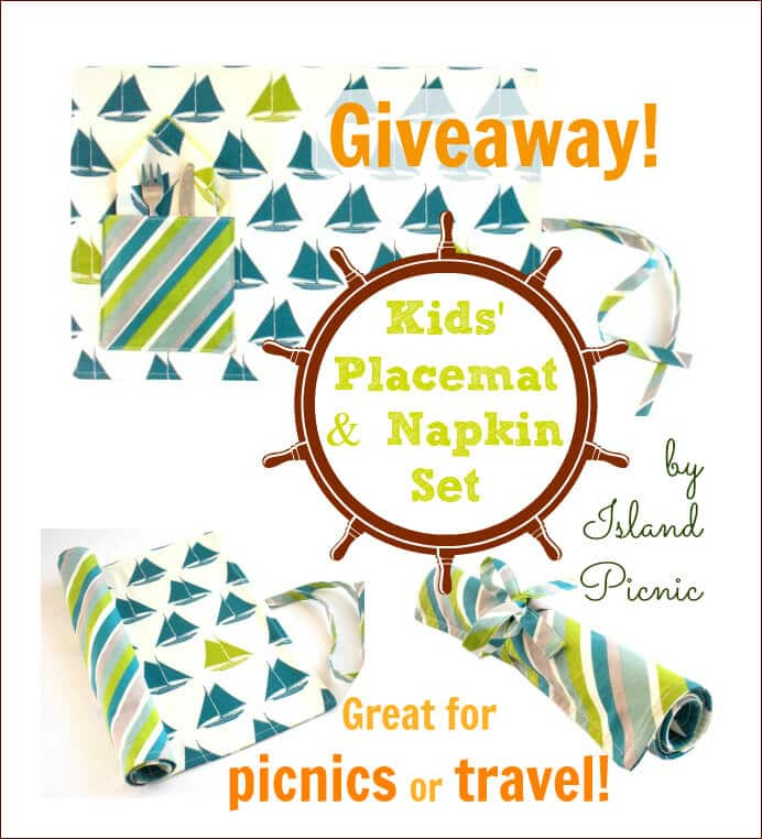 Kids Placemat and Napkin Set Giveaway by Island Picnic