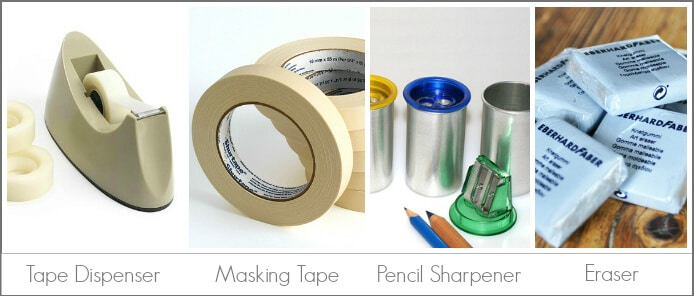 Kids Art Tools -- the Basics, including tape, tape dispenser, pencil sharpener, and eraser