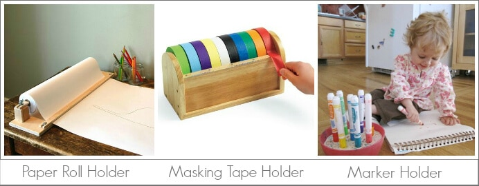 Kids Art Tools to Store and Organize Art Supplies, including masking tape dispenser, paper roll holder, and marker holder