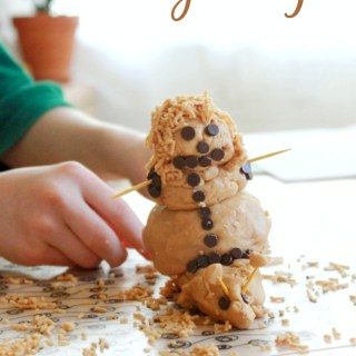 Peanut Butter Playdough (Or, how to make an edible, snail-riding, snow woman.)