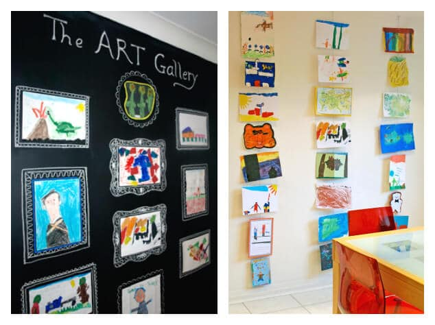 21 Ways to Display Kids Artwork - Chalkboard gallery and hanging display wire