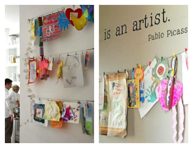 21 Ways to Display Kids Artwork - Hang them on a display wire!