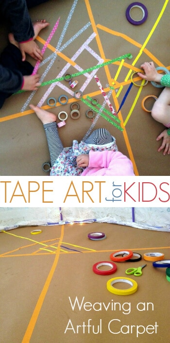 Masking Tape Art Project for Kids - Weaving an Artful Rug