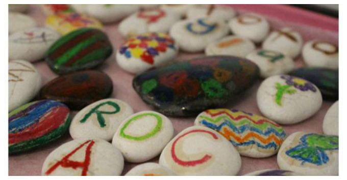 Kids Art with Rocks - Melting Crayon Drawings
