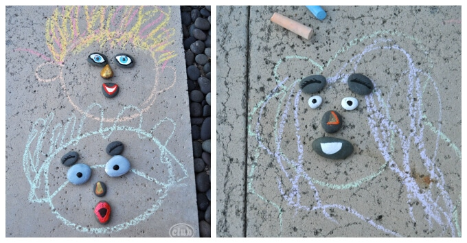 Kids Art with Rocks - Rocks Plus Chalk Faces