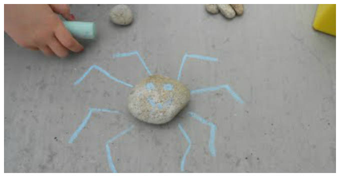 Kids Art with Rocks - Rocks Plus Chalks