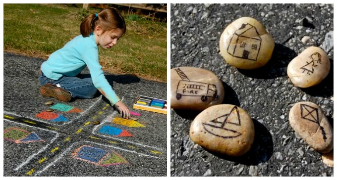 Story Stones Ideas - Story Stones with Sidewalk Scenes