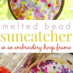 Melted Bead Suncatcher in an Embroidery Hoop Frame