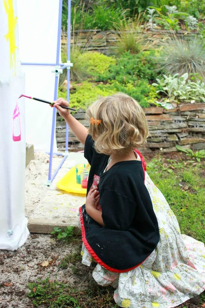 Painting the DIY Backyard Playhouse