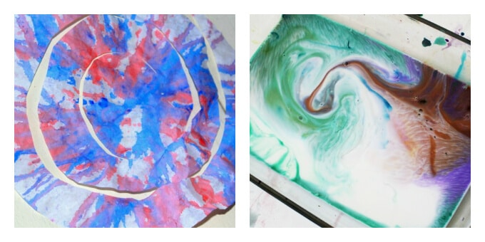 Patriotic Art Projects - Spin Art Streamers and Milky Fireworks
