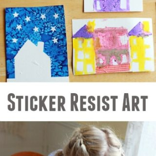 A Sticker Resist Art Project for Kids :: Houses and Cities