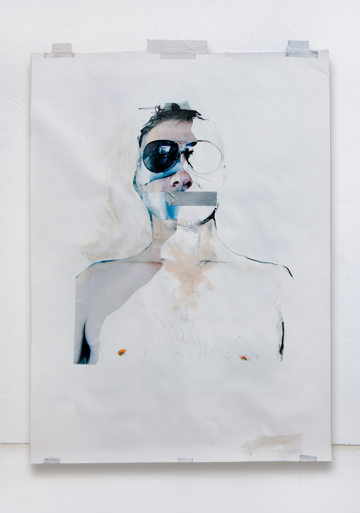 Patrick, oil and tape on paper, 120 x 160 cm