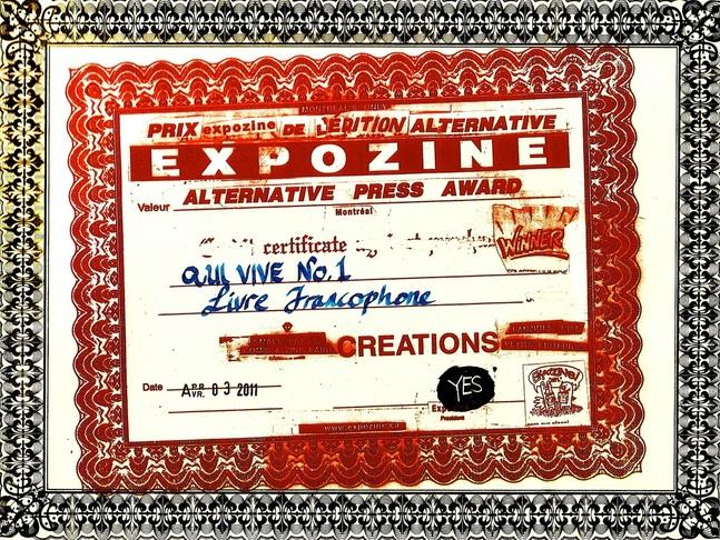 prix expozine à Qui vive! 2010