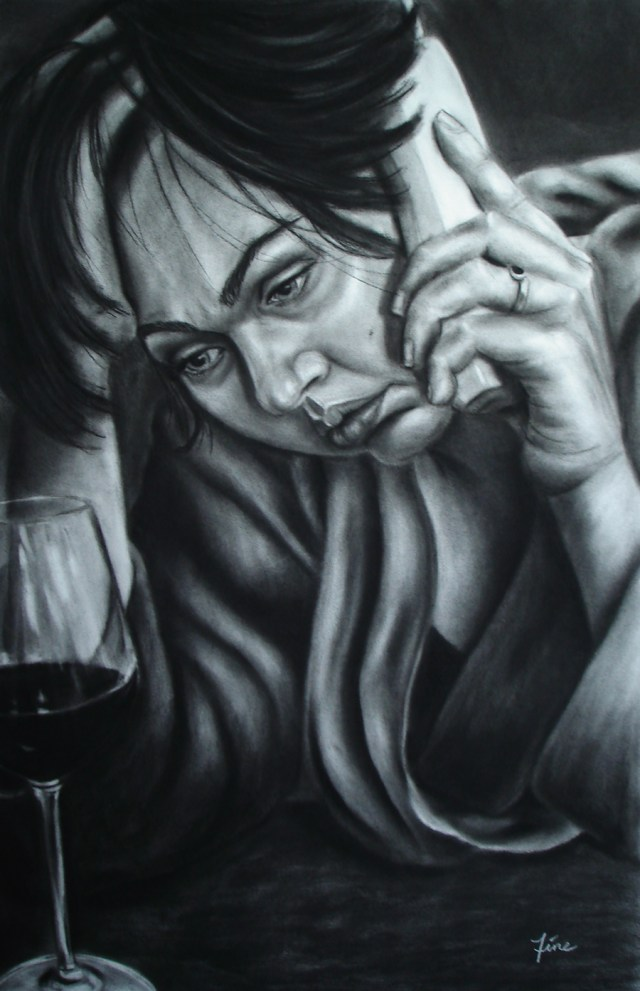 I'm Fine. You? charcoal drawing by Terra FIne