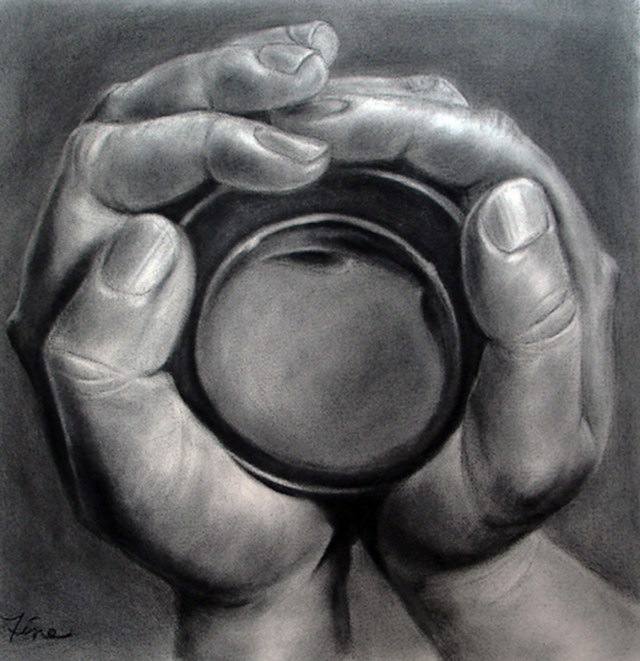 Self Reflection in a Cup of Tea, charcoal drawing by Terra Fine