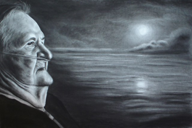 The Fisherman's Wife, charcoal drawing by Terra Fine