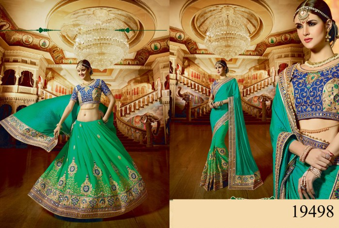Green Satin & Georgette Rukmini v4 Designer Saree 19498