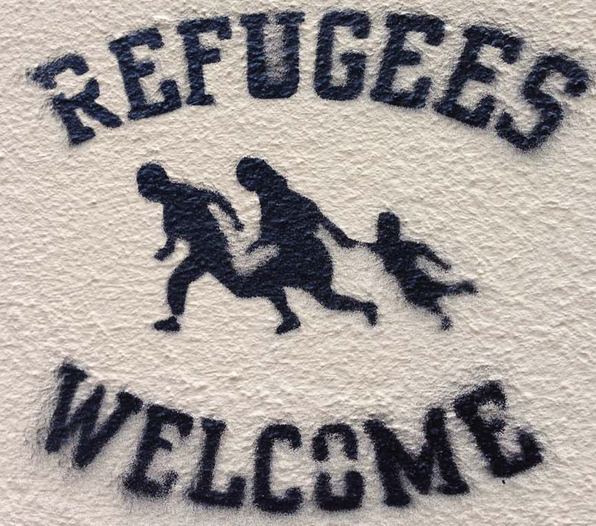 Refugees Welcome stencil