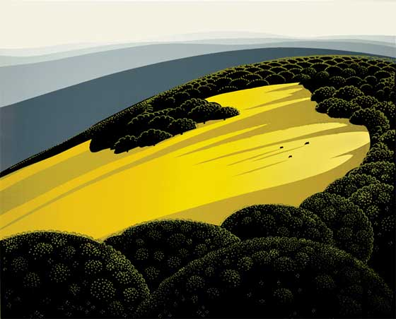 Valley - Eyvind Earle Serigraph - courtesy EyvindEarle.com - art print terms