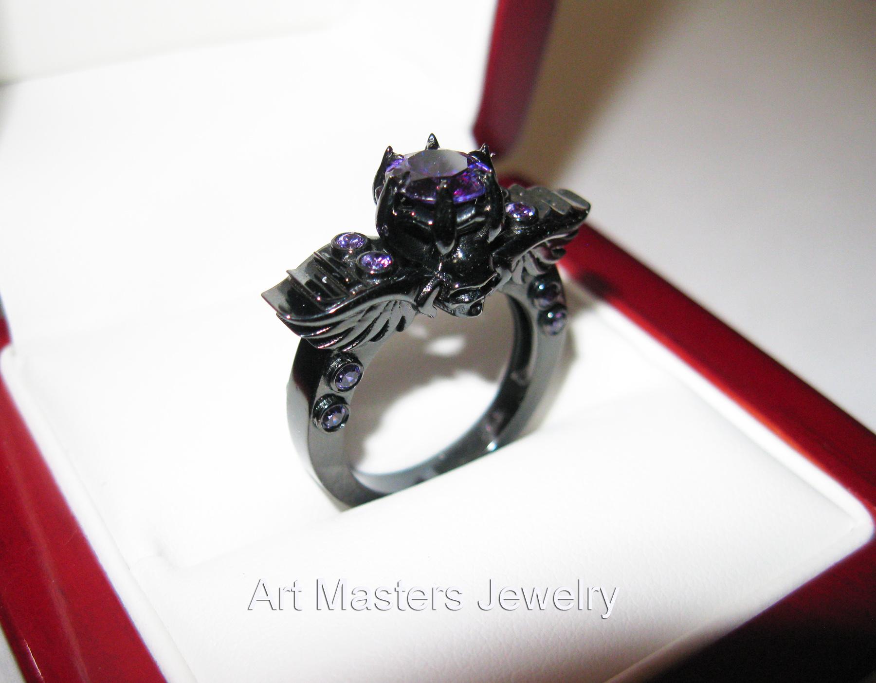 winged skull ring skull wedding rings Art Masters Classic Winged Skull 14K Black Gold 1 0 Ct Amethyst Solitaire Engagement Ring R