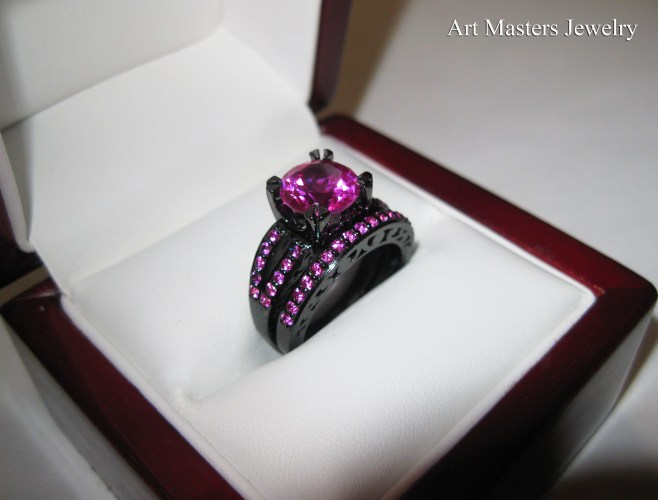 pink sapphire ring vintage sapphire wedding bands Modern Vintage 14K Black Gold 3 0 Carat Pink Sapphire Solitaire and Wedding Ring Bridal Set RS