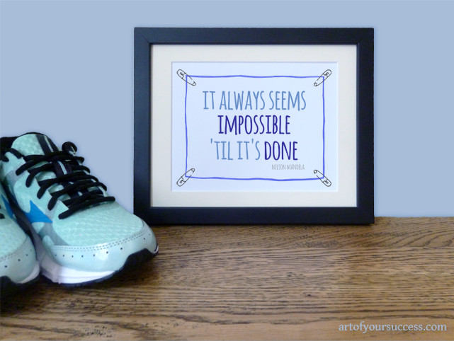 Impossible til done Mandela quote wall art print