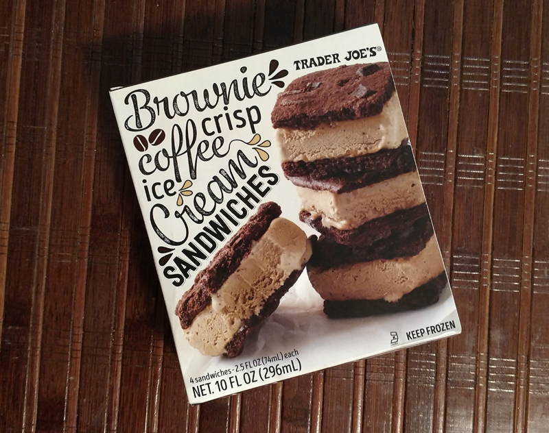 Trader Joes Brownie Crisp Coffee Ice Cream Sandwiches - Box of 4