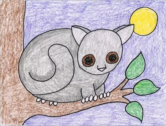 Draw a Bushbaby      Art Projects for Kids How to Draw a Bushbaby Instructions