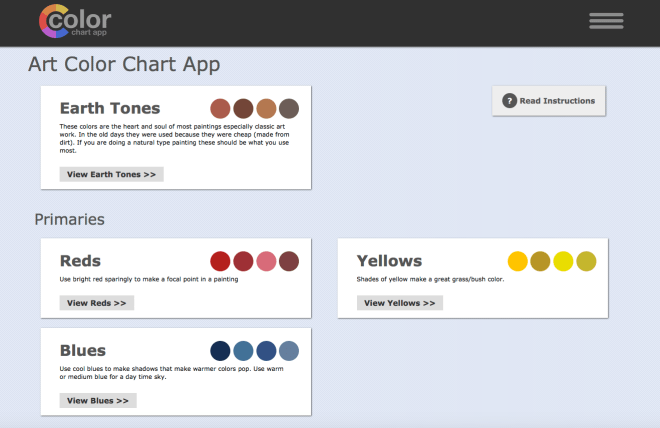 art paint color chart app home page