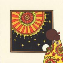 花火を見る女の人のイラスト