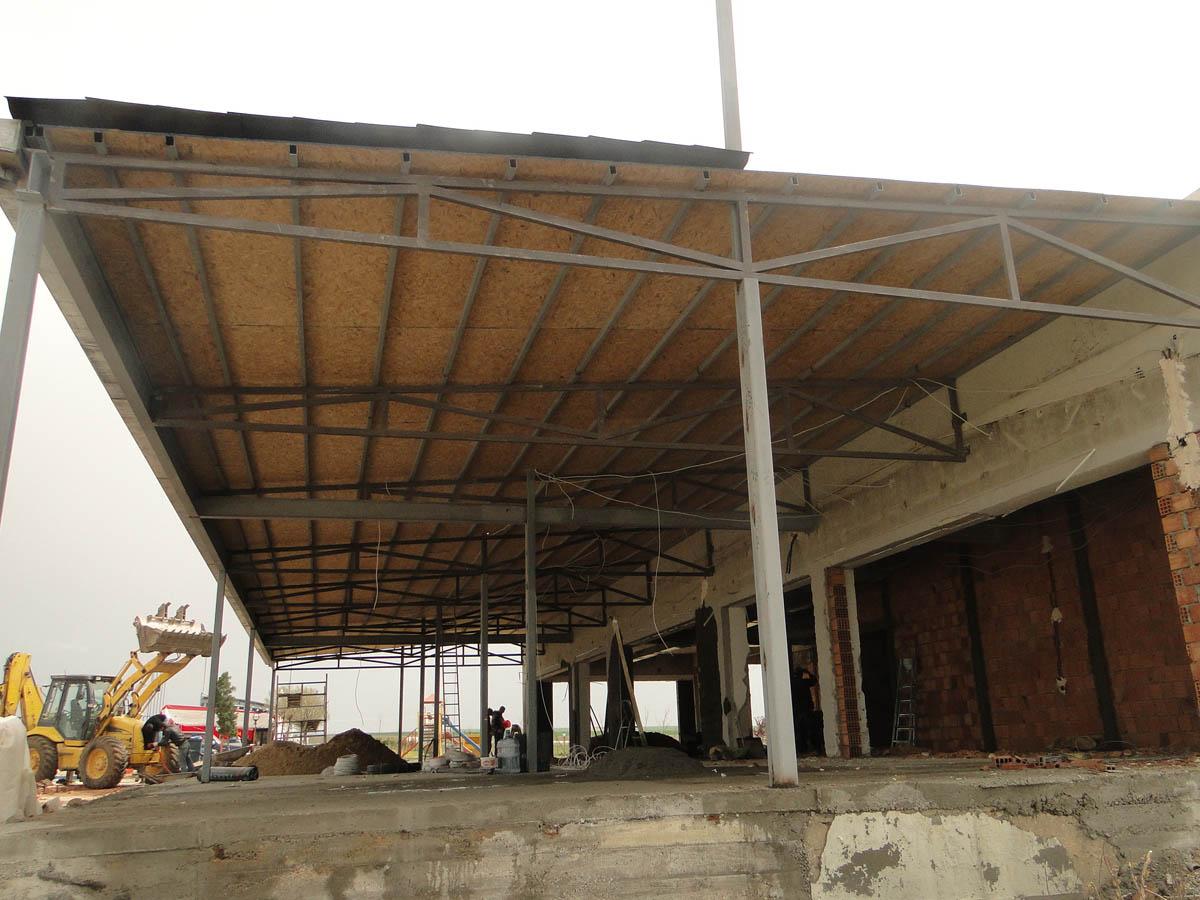 Çelik Çatı Sundurması-450 m2 Teras Alanı Çelik ile oluşturuldu