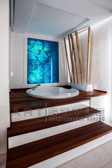 villa dekorasyonları, villa dekorasyon, villa ebeveyn yatak odası içinde jakuzi