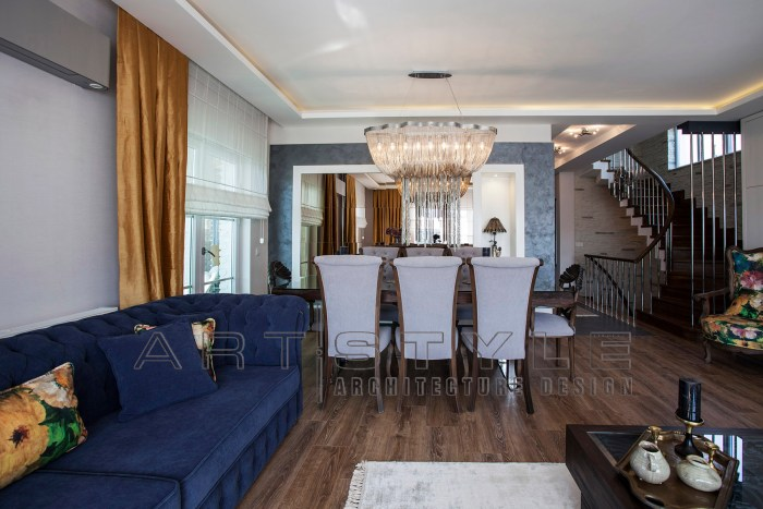 Villa dekorasyonları, villa dekorasyon örnekleri, villa Salon ve üst kata çıkış