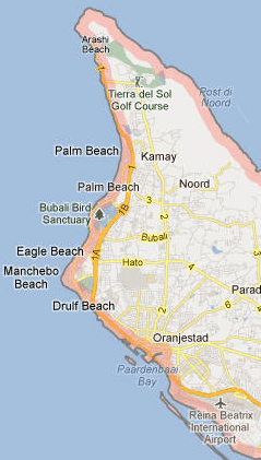 map of aruba with hotels