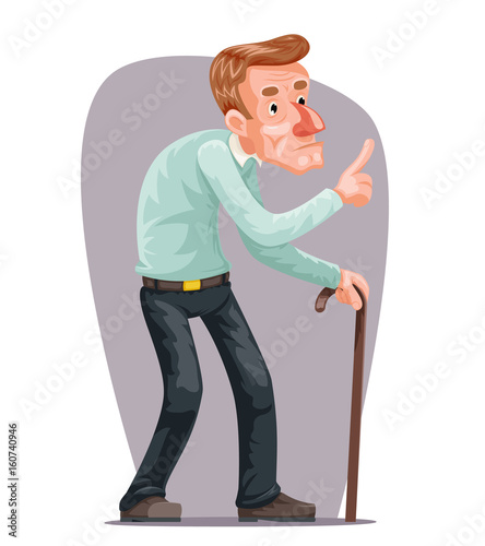 Old Man Bent Walking Wise Moral Preaching Instruction Senile Old     Old Man Bent Walking Wise Moral Preaching Instruction Senile Old Dementia  Cane Cartoon Character Design Vector