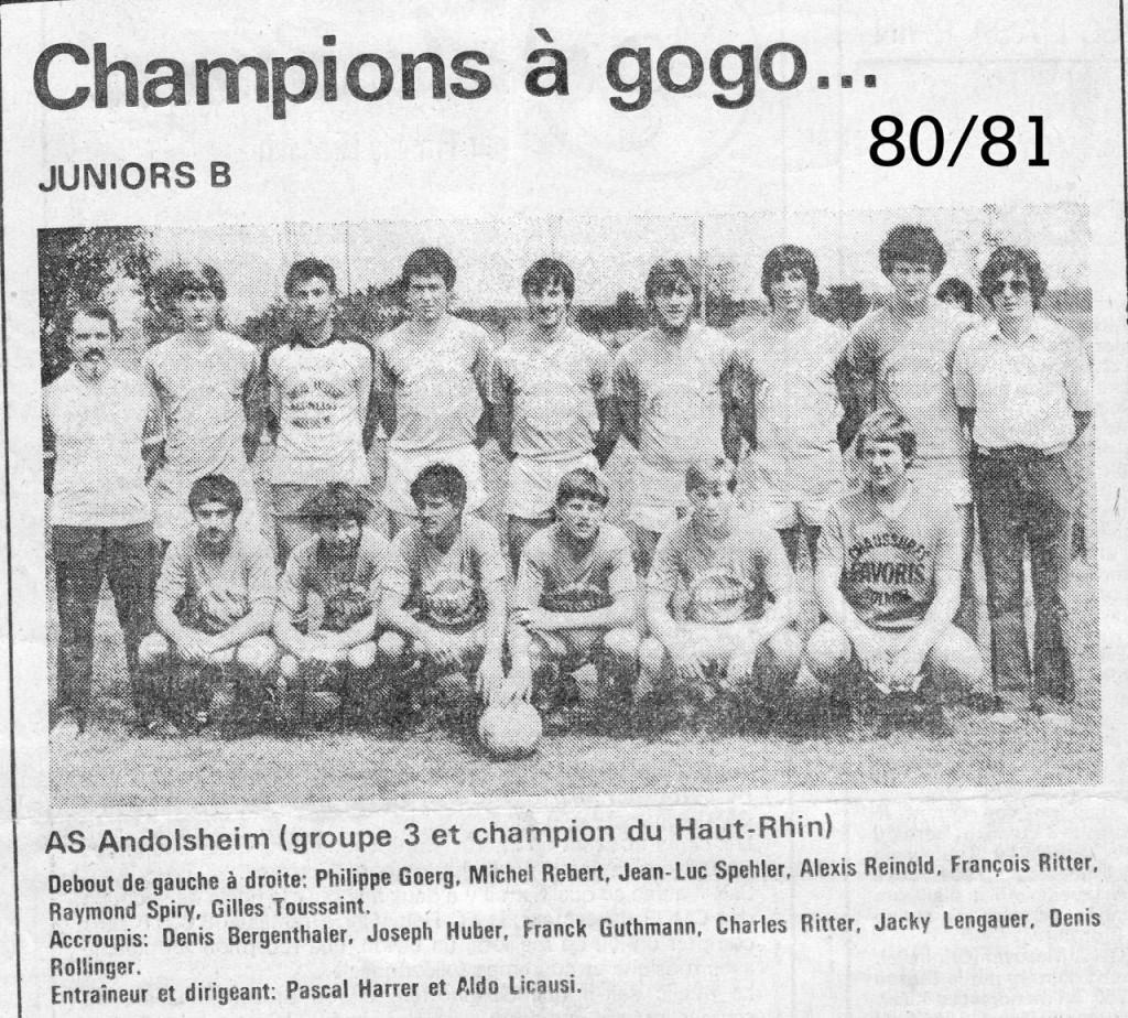 As Andolsheim Junior 1980 1981