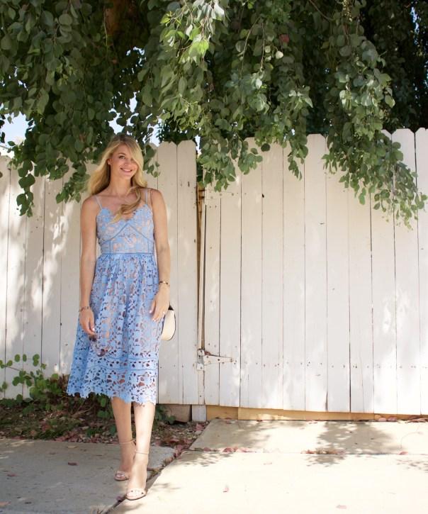 blue lace midi dress