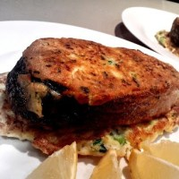 Parmesan crusted salmon cutlets with fennel and haloumi rosti